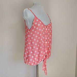 B. Jewel Pink Polka Dot Sleeveless Top with Ties